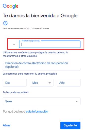 cuenta gmail sin teléfono móvil